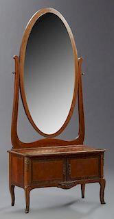 French Louis XV Style Parquetry Inlaid Ormolu Moun