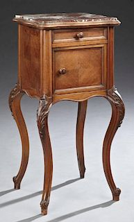 Louis XV Style Carved Walnut Marble Top Nightstand