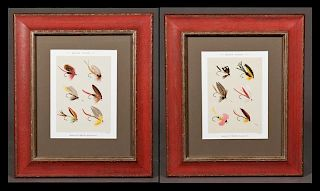 """""""Bass Flies,"""" 20th c., pair of colored lithographs"""