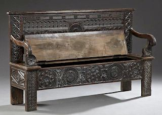 French Renaissance Style Carved Oak Bench, 19th c.
