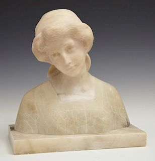 Art Nouveau Carved Marble and Onyx Bust of a Woman