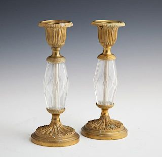Pair of Diminutive Crystal and Gilt Bronze Candles