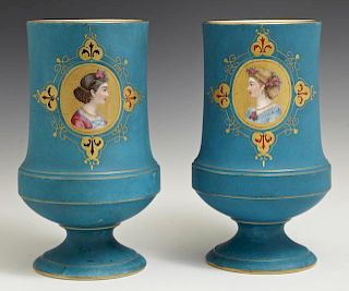 Pair of Continental Footed Baluster Vases, c. 1880