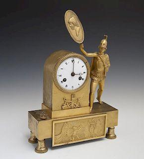 French Gilt Bronze Figural Mantel Clock, c. 1840,