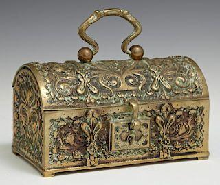 Renaissance Style Bronze Jewelry Box, 19th c., the