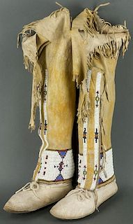 Beaded High Top Moccasins (Cheyenne or Arapaho ca. 1890 - 1910)