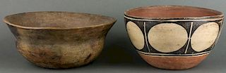Hopi Stew Bowl (ca. 1870s) & Santo Domingo Dough Bowl (ca. 1930s)