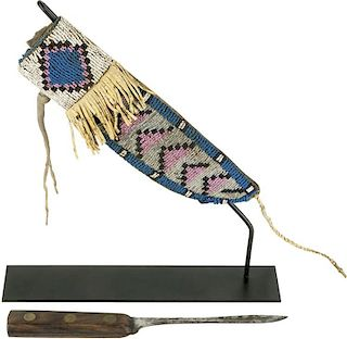 Northern Plains Indian Knife, Fort Teck, Montana Terriorty Sioux/Blackfoot Knife Sheath (ca. 1870's)