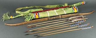 Sioux Design Bow, Arrows & Quiver (ca. 1980's)