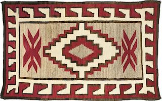 Navajo Rug, Red, Gray, Cream, & Black (ca. 1940's)