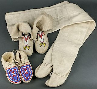 Lot of 3: Plains Moccasins & Pueblo High Top Moccasins (ca. 1920 - 1940)