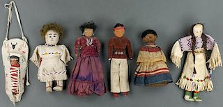 Lot of 6: Navajo, Seminole, Plains & Plains Tourist Cradle Dolls