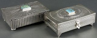 Lot of 2: Navajo Silversmithed Boxes
