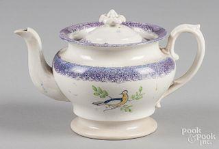 Purple spatter teapot with dove decoration, 5 1/2'' h.