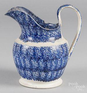 Blue spatter pitcher, 9 1/2'' h.