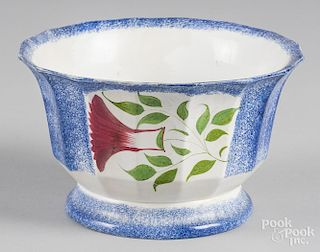 Blue spatter bowl with thistle decoration, 5 1/2'' h., 9 1/8'' dia.