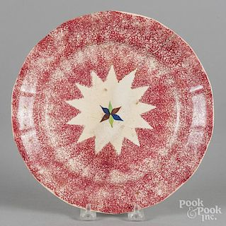 Red spatter plate with star decoration, 9 1/2'' dia.