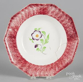 Red spatter soup bowl with primrose decoration, 10 1/2'' dia.