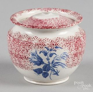 Red spatter covered sugar with transfer blue flowers, 4 1/4'' h.