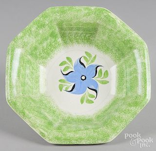 Green spatter basin with morning glory decoration, 4 1/4'' h., 13'' w.
