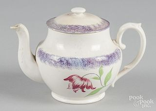 Purple spatter teapot with mourning tulip decoration, 5 3/4'' h.