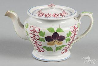 Stick spatter teapot, 5 3/4'' h.