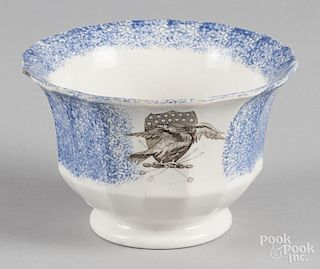 Blue spatter waste bowl with transfer eagle decoration, 4 1/8'' h., 6 3/8'' dia.