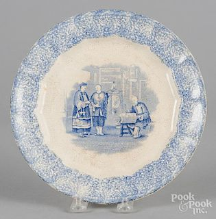 Blue spatter plate with transfer decoration of Chinese figures, 9 1/2'' dia.