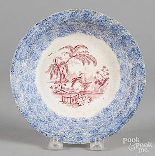 Blue spatter shallow bowl with red transfer decoration, 7 1/4'' dia.