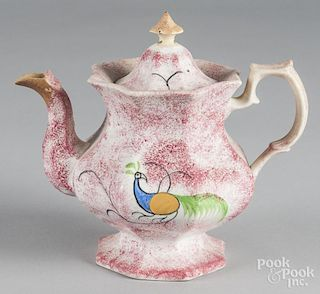 Red spatter teapot with peafowl decoration, 8 3/4'' h.