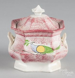 Red spatter covered sugar with peafowl decoration, 6 1/2'' h.