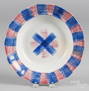 Blue and red rainbow spatter soup bowl, 10 5/8'' dia.