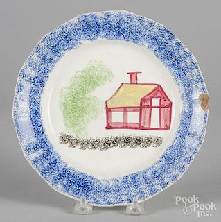 Blue spatter plate with schoolhouse decoration, 8 1/2'' dia.