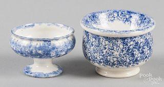 Blue spatter master salt, 2'' h., together with a soap dish, 2 3/4'' h.