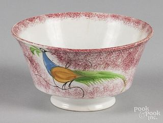 Red spatter waste bowl with peafowl decoration, 3 1/4'' h., 6'' dia.