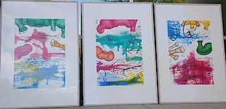 """Carroll Dunham """"Three Etchings"""" (COMPLETE SET of 3)"""