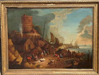 Old Master Dutch Painting 17th Century Baroque Fishing Village