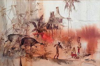 Romeo Tabuena (1921-2015) watercolor painting