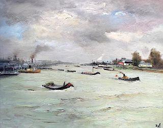 Marcel Dyf (1899 - 1985) Large Seascape Painting