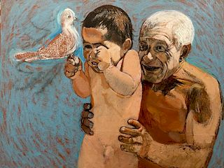Ivan Valtchev, Picasso with Son Claude and Dove of Peace