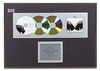 A U2: The Best of 1990-2000 900,000 UK Copies Sold Presentation Album 16 x 22 inches.