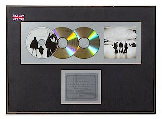 A U2: All That You Can't Leave Behind 900,000 UK Copies Sold Presentation Album 16 x 22