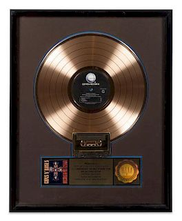 A Guns & Roses: Appetite for Destruction RIAA Certified Gold Presentation Album 21 x 17 inches.