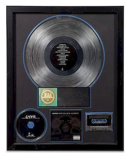 A Jay-Z: The Black Album RIAA Certified 2x Platinum Presentation Album 21 1/4 x 17 1/4 inches.