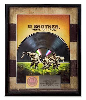 An O Brother, Where are Thou? Soundtrack RIAA Certified Platinum Presentation Album 21 x 17 inches.
