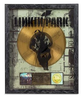 A Linkin Park: Hybrid RIAA Certified Gold Presentation Album 21 1/2 x 17 1/2 inches.
