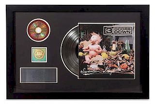 A Three Doors Down RIAA Certified Platinum Presentation Album 20 1/2 x 31 inches.