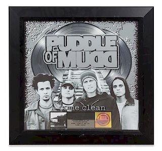 A Puddle of Mudd: Come Clean RIAA Certified 3x Platinum Presentation Album 24 1/2 x 24 1/2 inches.