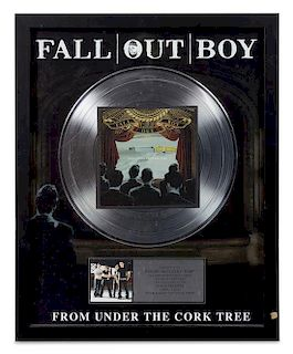 A Fall Out Boy: From Under the Cork Tree RIAA Certified 2x Platinum Presentation Album 21 1/4 x 17 1/4 inches.