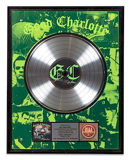 A Good Charlotte: The Young & The Hopeless RIAA Certified Gold Presentation Album 22 1/2 x 17 1/2 inches.